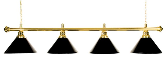 "72"" Pool Table Light - Billiard lamp With Metal Black Shades for 9' Table"